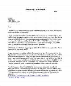 Layoff Letter Free 6 Sample Layoff Notice Templates In Pdf Ms Word