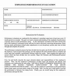 Performance Evaluation Template For Employees Free 7 Performance Evaluation Samples In Ms Word Pdf