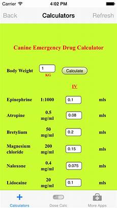 Emergency Drug Dose Chart Veterinary App Shopper Veterinary Calculators Medical
