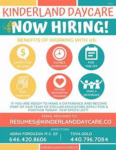 Daycare Ad Kinderland Daycare Now Hiring Call Today To Request Our