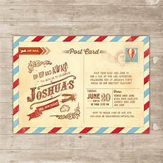 Birthday Invitation Postcards Vintage Travel Invitation Postcard Invite Up Up And Away
