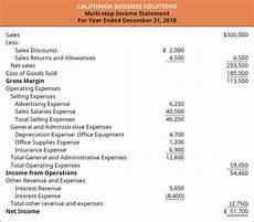 Multi Step Income Statement Format Describe And Prepare Multi Step And Simple Income