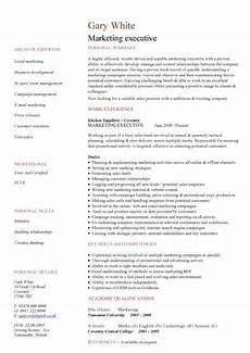Cv Format For Marketing Executive Marketing Executive Cv Sample Job Description Sales