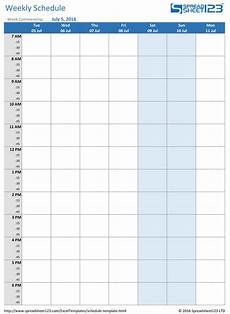 Weekly Schdule Printable Weekly And Biweekly Schedule Templates For Excel