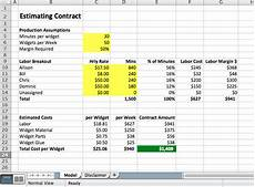 Cost Model Template How To Price Contracts Excel Models