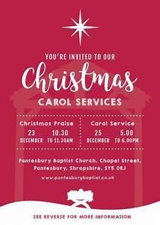 Christmas Carol Invitation Wording Christmas Carol Service Invitation Cards A6 Truthvine