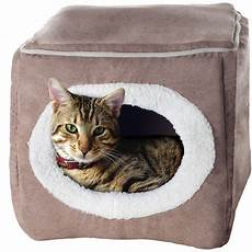 petmaker small cozy cave cat bed light coffee 13 in
