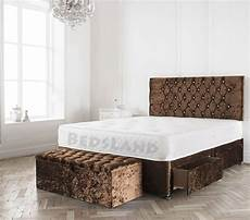 crushed velvet brown divan bed drawers headboard mattress