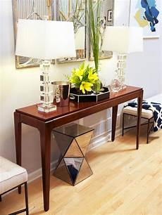 Sofa Table Decorations For Living Room 3d Image by Between Wood And Glass Console Tables Homesfeed