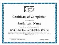 Certification Of Completion Template Fitter Pre Certification Course Providers
