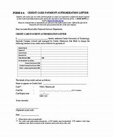 Credit Card Authorization Letter Template Free 8 Sample Credit Card Authorization Letter Templates