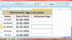 Pension Calculations Spreadsheet How Calculate Retirement Age In Excel 2007 2010 Youtube