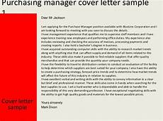 Purchasing Manager Cover Letter Purchasing Manager Cover Letter
