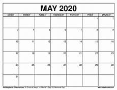 Printable May 2020 Calendar With Holidays Printable May 2020 Calendars