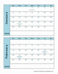Two Month Calendar 2020 2020 Calendar Template Two Months Per Page Free