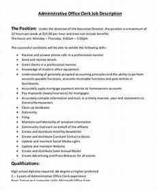 Administrative Clerk Duties 13 Office Clerk Job Descriptions Pdf Doc Free