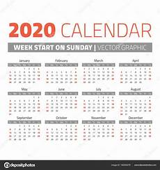 2020 16 Year Calendar Simple 2020 Year Calendar Stock Vector 169 123sasha 162255276