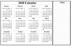 Year Calendar 2020 Printable Printable Yearly Calendar 2020 Template With Holidays Pdf