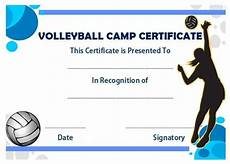 Volleyball Certificate Templates Volleyball Camp Certificate Volleyball Certificates Free