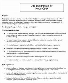 Head Cook Job Description 19 Cook Job Description Templates Pdf Doc Free