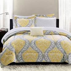 mainstays yellow damask 8 bed in a bag bedding set