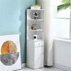 white corner slim cabinet 1 drawer 3 shelf cupboard