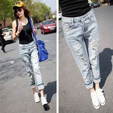 Light Ripped Jean Outfits 2014 New Fashion High Street Mid Waist Casual Light Blue