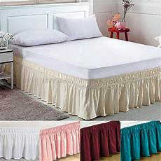elastic bed skirt dust ruffle easy fit wrap around