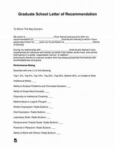 Letter Of Recommendation Graduate School Samples Free Graduate School Letter Of Recommendation Template