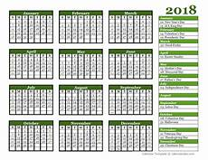 Yearly Calendar Template Word Editable 2018 Yearly Calendar Landscape Free Printable