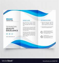 Free Brochure Design Blue Wavy Business Trifold Brochure Template Vector Image