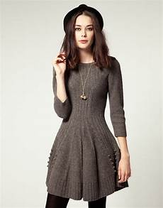 nw3 by hobbs knit dress with skater skirt in gray