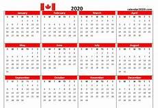 2020 Calendar Canada Canada 2020 Printable Calendar With Holidays Word Excel