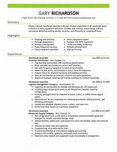 Warehouse Associate Resume Samples Warehouse Associate Resume Sample Job Resume Examples