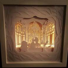 Battery Powered Shadow Box Light Tale As Old As Time Beauty And The Beast Inspired Light