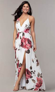 v neck floral print prom dress promgirl