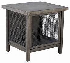 metal wire mesh side table with concrete top industrial