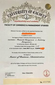 Ba Certificate Format Mba Degree Without Signature Cu Issues Mba Degree