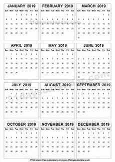 A4 Calendar Template Annual Calendar 2019 Free Download Printable Calendar