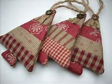 fabric ornaments country colors set of 3 sand