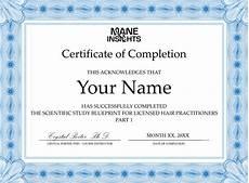 Generic Certificate Of Completion Scientific Study Blueprint Registration Mane Insights