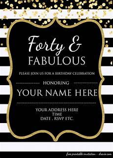 Birthday Invitations Templates Free Download 40th Birthday Invitation Template Free Free Printable