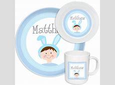 Bunny Boy Melamine Set   Kids Dinnerware   Personalized