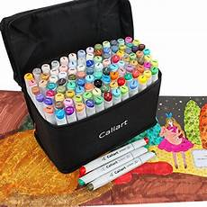 Caliart Markers 100 Color Chart Caliart 100 Colors Artist Alcohol Based Markers Dual Tip