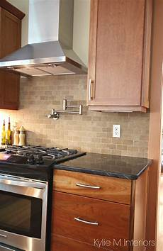 tile backsplash for kitchens with granite countertops cherry cabinets travertine tile backsplash black