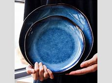 Yilala Dinner Plates Ceramic Plate Dish Deep Blue