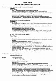 Resume For Nurse Educator Education Specialist Clinical Education Resume Samples