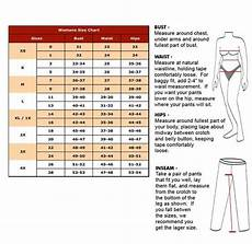 Easy To Read Pant Chart For Numeric Size Alphabetical