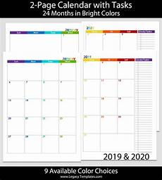 Two Month Calendar 2020 2019 Amp 2020 24 Months 2 Page Calendar A5 Legacy Templates