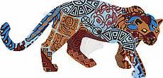 Indianische Muster Malvorlagen Auf Jaguar Im Ethnischen Muster Der Indianer Clipart Bild